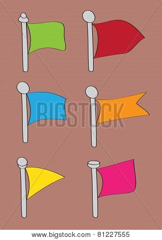 Set Of Six Cartoon Flag Vector Icons