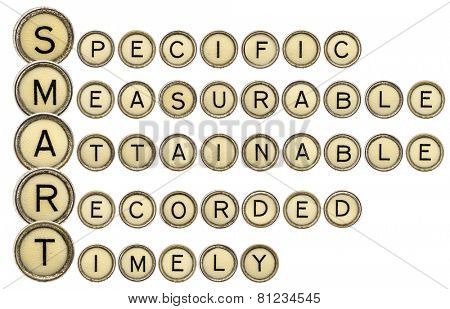 SMART goal setting acronym (specific, measurable,attainable,recorder, timely)  in old round typewriter keys isolated on white
