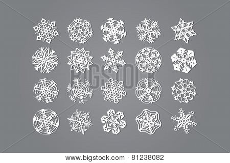 Set Of Twenty Snowflakes