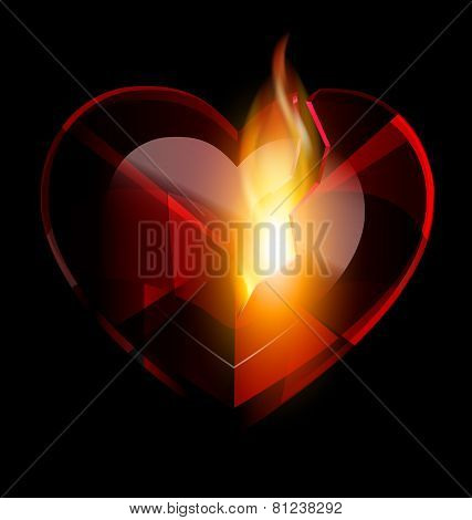 Broken Heart-crystal And Flame