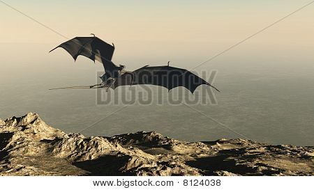 poster of 3d Digitally rendered illustration of a dragon flying over a mountain cliff, hunting for it's prey