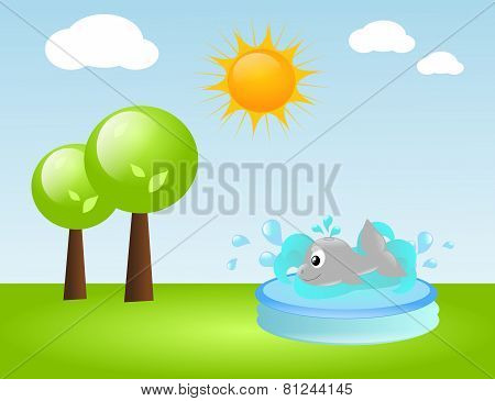 Water Pool With Whale On Grass In Summer Day
