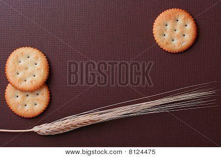 Cookies On Brown Background