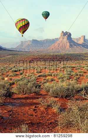 Hot Air Balloons Floating over Desert