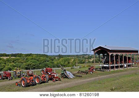 Lineup of tractors at farm show