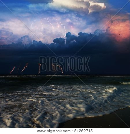 storm and lightning in the sea