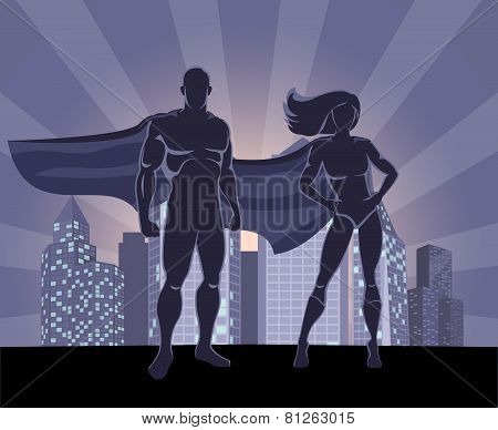 Superhero and female superhero silhouettes