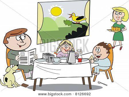 Family breakfast cartoon