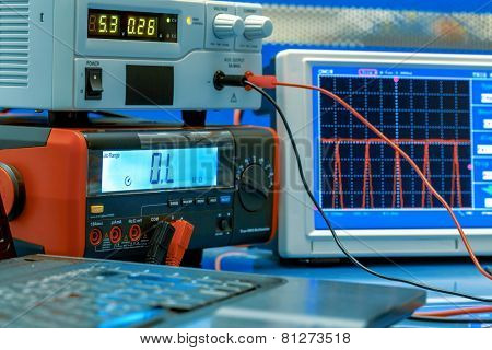 electronic measuring instruments in hitech computer laboratory poster