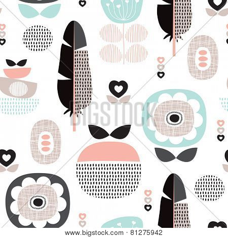 Seamless retro scandinavian style pastel flowers poppy blossom and feather background pattern in vector