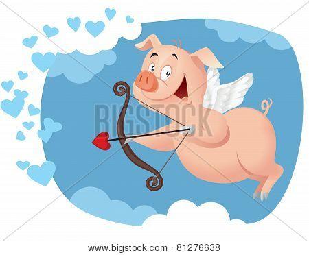 Cupid Pig Vector Cartoon