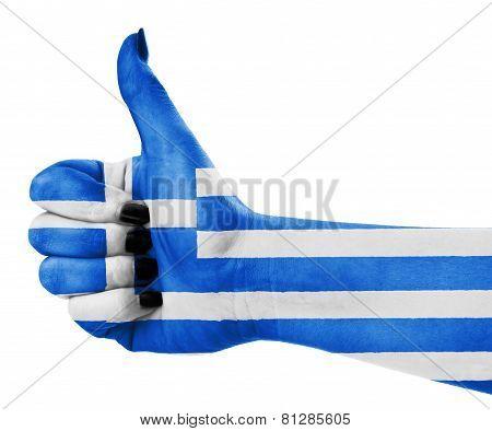 Flag Of Greece On Hand