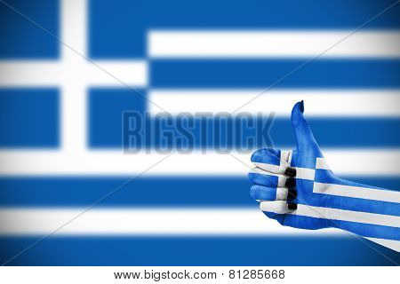 Flag Of Greece On Hand