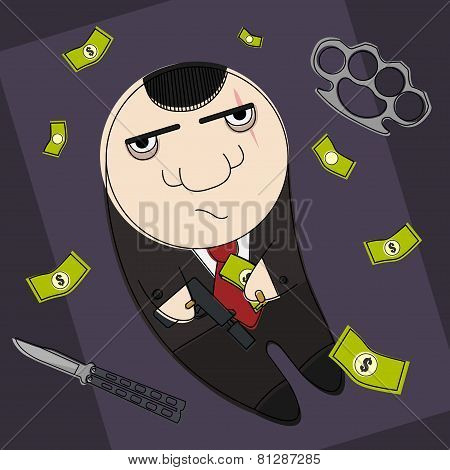 Dangerous mafia cartoon hitman
