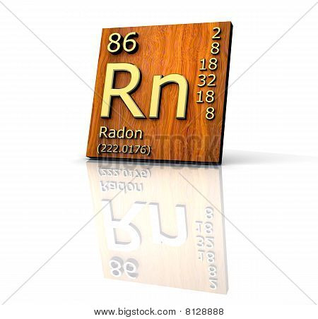 Radon form Periodic Table of Elements - wood board - 3d made poster