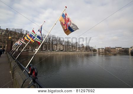 Flags Hofvijver in the hague Netherlands