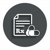 Medical prescription Rx sign icon. Pharmacy or medicine symbol. With two pills. Gray flat button with shadow. Modern UI website navigation. Vector poster