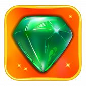 Game icon emerald isolated on white background vector illustration poster