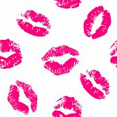 Seamless pattern with a lipstick kiss prints on white background. Vector background poster
