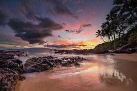 Moody Sunset At Secret Cove Maui