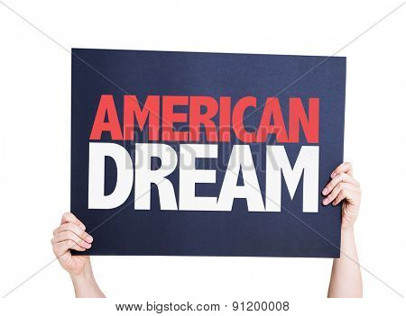 American Dream card isolated on white
