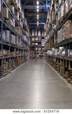 Empty Warehouse Racking With Floor Space