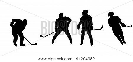 Stencils Playing Ice Hockey Athletes