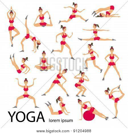 Vector Yoga Illustration Set Women Sketch Asana Girl Healthy Lifestyle