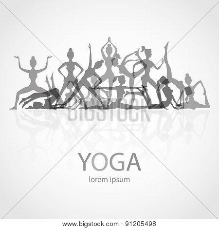 Yoga Poses Silhouettes  Vector, Body, Pose, Female,