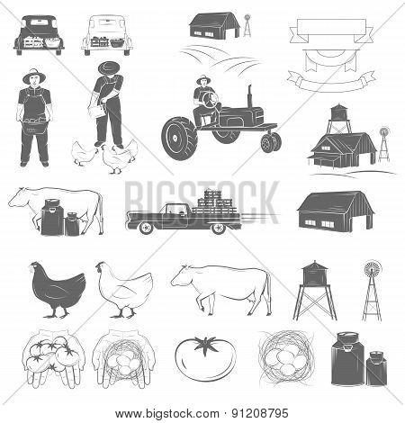 Farming Two-color Icon Set Vector Illustration.