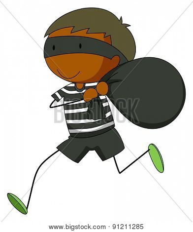 Closeup robber running away with a black bag