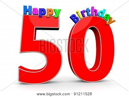 The Big Red Number 50 With Happy Birthday