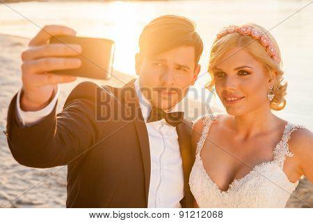 Selfie Of Bride And Groom