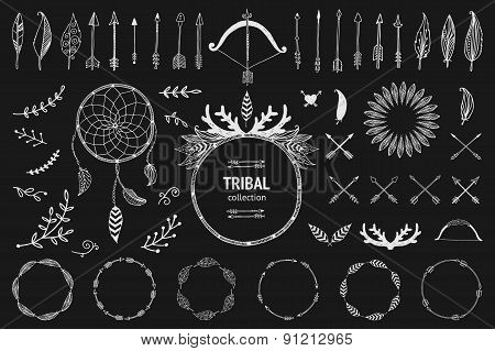 Hand drawn tribal collection with bow and arrows, feathers, drea