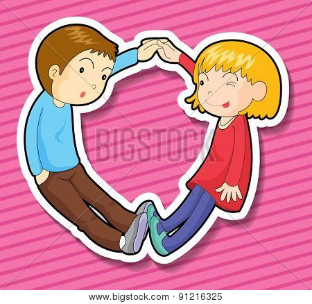 Courple holding hands with pink background