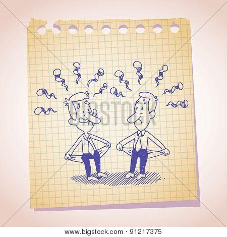 Two penniless businessman note paper cartoon sketch