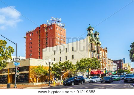 Facade Of Historic Hotel St. James In Gas Lamp District In San Diego