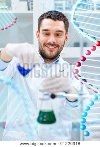 science, chemistry, technology, biology and people concept - young scientist mixing reagents from glass flasks and making test or research in clinical laboratory over dna molecule structure poster
