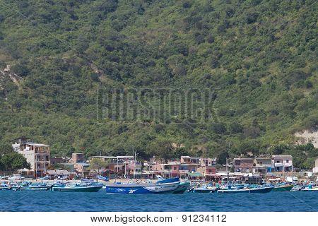 Beautiful coastal beach view of a typical morning in Ecuadorian fishing town