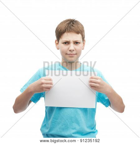 Concerned young boy in a cyan t-shirt with a empty copyspace A4 sheet of paper in front of him, composition isolated over the white background poster