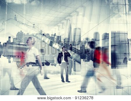 Man Talking On The Phone People Walking Concept