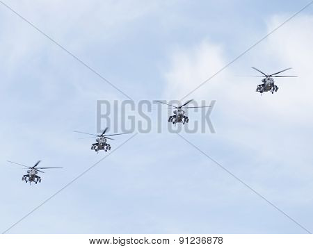 Four Military Helicopters Mi-35 Flying