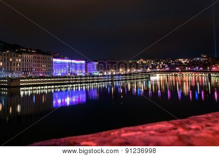 Lyon Skyline During Festival Of Lights