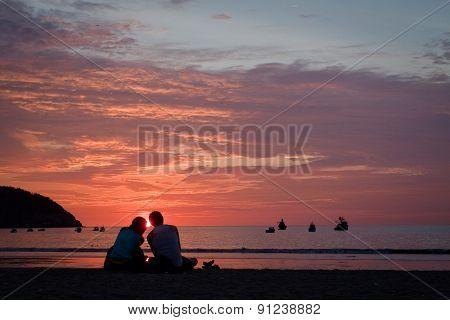 Breathtaking view of amazing sunset in beautiful beach, Manabi, Ecuador