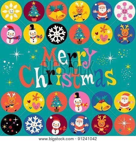 Merry Christmas retro style