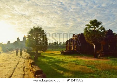 Walkway to Ankor Wat in the morning poster