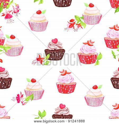 Chocolate Strawberry Cupcakes  Seamless Vector Print