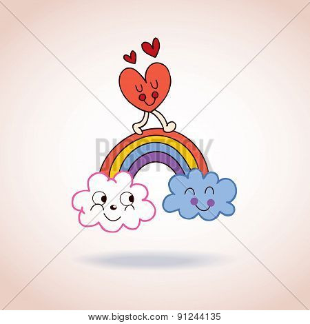 clouds rainbow and heart cute characters illustration