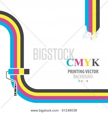 CMYK vector background. Print colors paint roller.