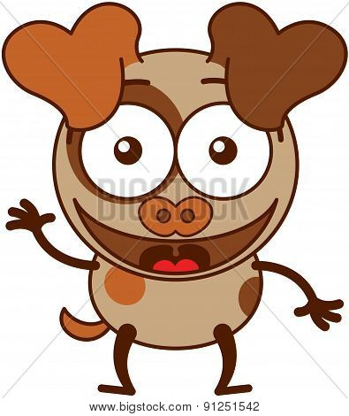 Little brown dog waving enthusiastically